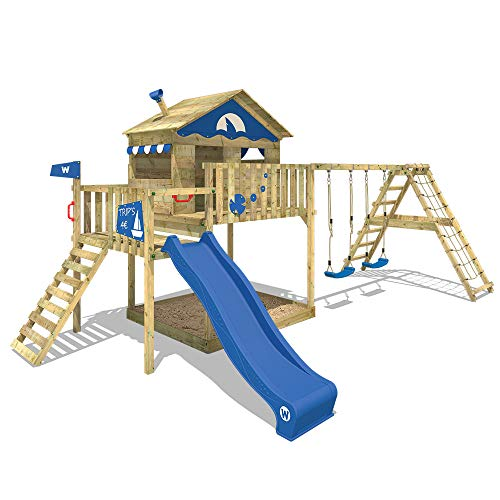 WICKEY Spielturm Klettergerüst Smart Ocean mit Schaukel & blauer Rutsche,...