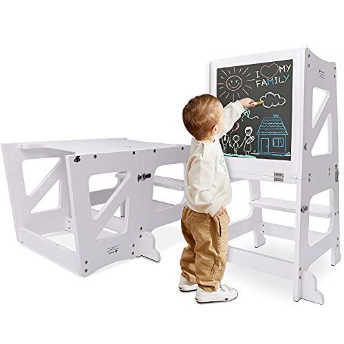 YOLEO 2 in 1 Lernturm Kinder Tritthocker mit Sicherheitsstange,...