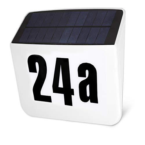 Navaris LED Solar Hausnummer Schild - mit Nummer Stickerset -...