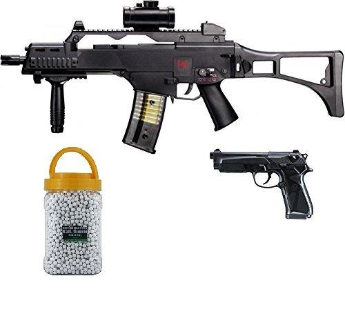 g8ds Set: HK Heckler & Koch G36 C AEG Elektrisch Softair Gewehr + Softair Pistole Beretta 90...