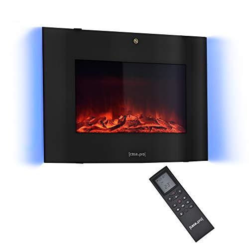 casa.pro Elektrokamin mit Heizlüfter und LED-Feuer - Schwarz -...