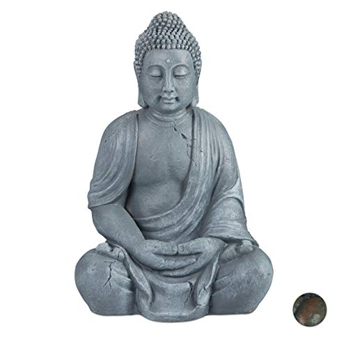 Relaxdays Buddha Figur sitzend, XL 70 cm, Gartenfigur, Dekofigur...