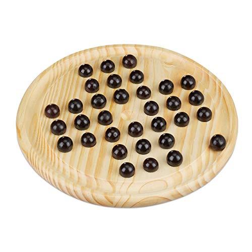 Relaxdays Solitaire Spiel, rundes Spielbrett, 33 Kugeln, Kinder &...