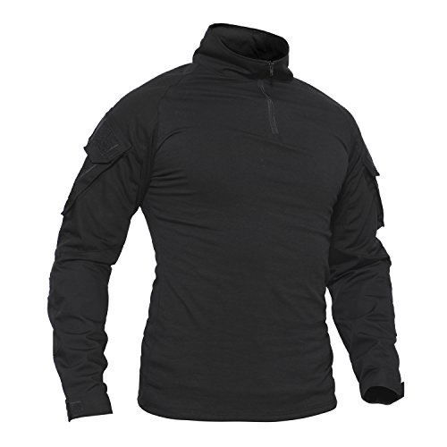 TACVASEN Herren Baumwoll Shirt Schwarz Langarm Hemd Militär...