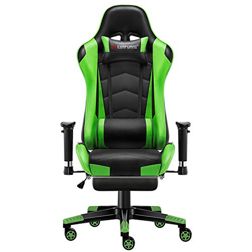 JL Comfurni Gaming Stuhl Bürostuhl mit Fußstütze Ergonomischer...
