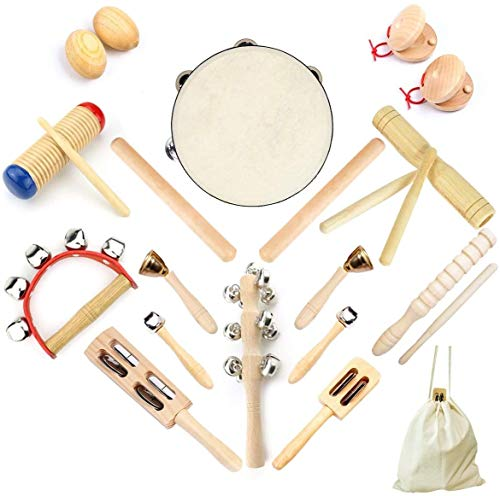 Ulifeme 23 Stück Musikinstrumente Set, Musical Instruments Holz Percussion Set für Kinder,...