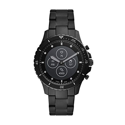 Fossil FB-01 HR- Hybrid Smartwatch Schwarzes Zifferblatt mit schwarzem Edelstahlarmband für...
