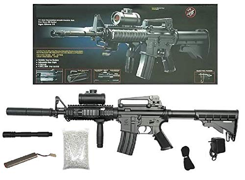 KOSxBO® Set: Elektrische Softair - Gewehr Schnellfeuerkarabiner...