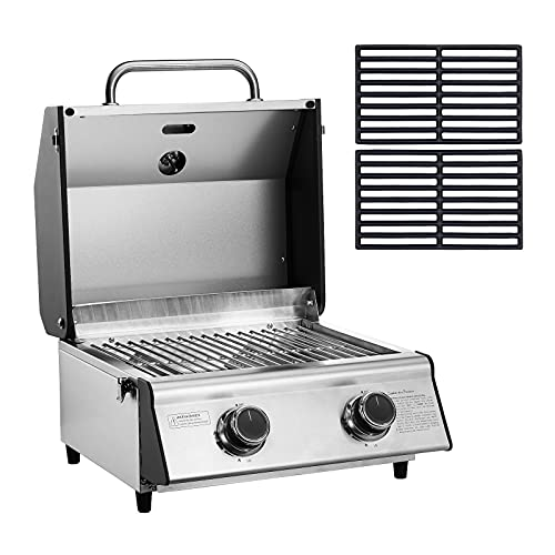 TAINO COMPACT 2.0 S Tischgrill Set mit Gusseisen-Rost 2 Brenner...