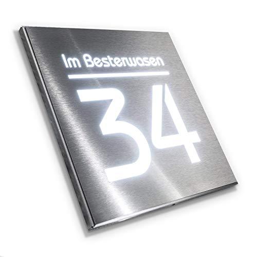 Metzler Hausnummer Edelstahl mit LED-Beleuchtung - Gravur...