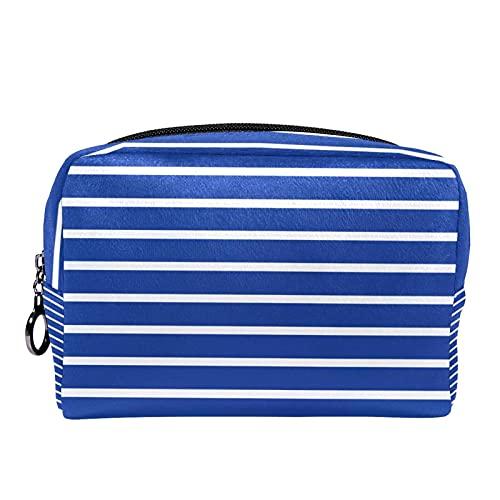 Make-up-Tasche mit blauem Streifenmuster, tragbare...