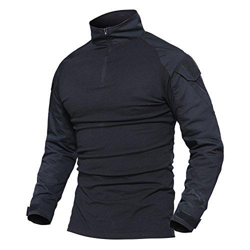 MAGCOMSEN Sportshirt Herren Military Longsleeve Shirts Stehkragen...