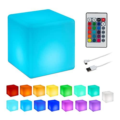 Relaxdays LED Sitzwürfel, 16 Farben, 4 Farbwechsel Modi,...