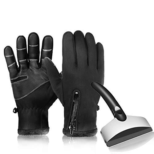 Eiskratzer Schneeschaber Schneebürste mit Eiskratzer Handschuh...