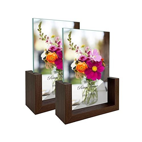 RLAVBL Doppelseitiger Bilderrahmen 10x15 cm aus Glas mit Einer...