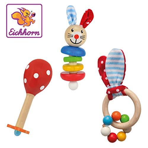 Eichhorn 100017045 - Baby Starter/Geschenke Set mit Maraca, Greifling mit Sound und Greifling...