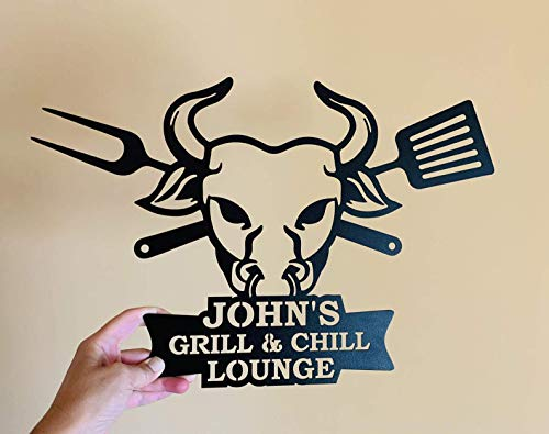 Personalisierter Schild Grill and Chill Lounge BBQ Zeichen...