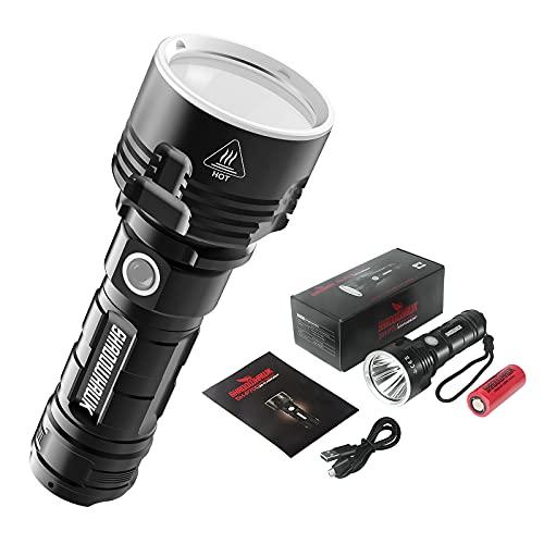 Shadowhawk Taschenlampe Led, Extrem Hell 4000 Lumen USB Aufladbar...