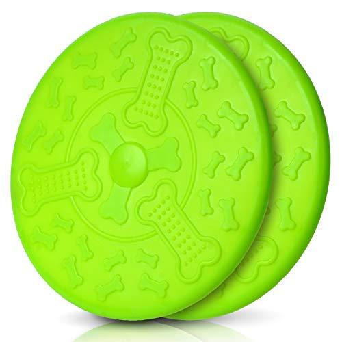 Honigpfote Hunde Frisbee in knalliger Farbe schwimmend aus...
