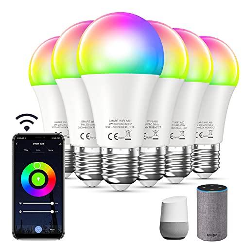 Bewahly Alexa Glühbirne [6er pack], E27 9W Smart WLAN LED Lampe,...
