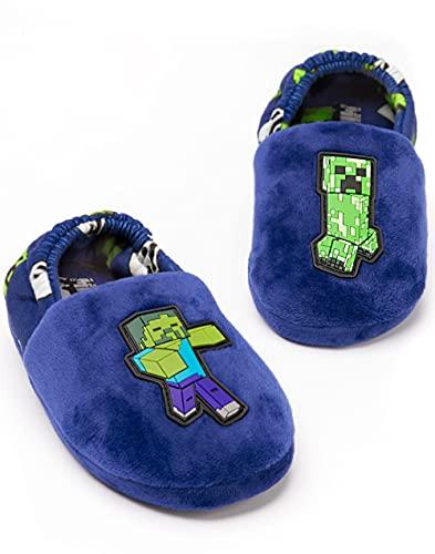 Minecraft Hausschuhe Jungen Kinder Blue Creeper vs Zombie Haus...