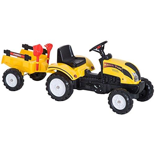 HOMCOM Tretauto Traktor Trettraktor mit Anhänger ab 3 Jahre...