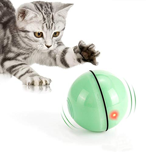 WWVVPET Interaktives Katzenspielzeug Ball mit LED-Licht, 360°...