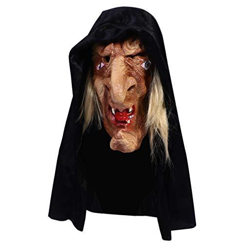 STOBOK Latex Hexenmaske Hexenkopfmaske mit Schwarzen Haaren für...