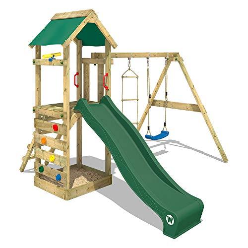 WICKEY Spielturm Klettergerüst FreeFlyer mit Schaukel & grüner...