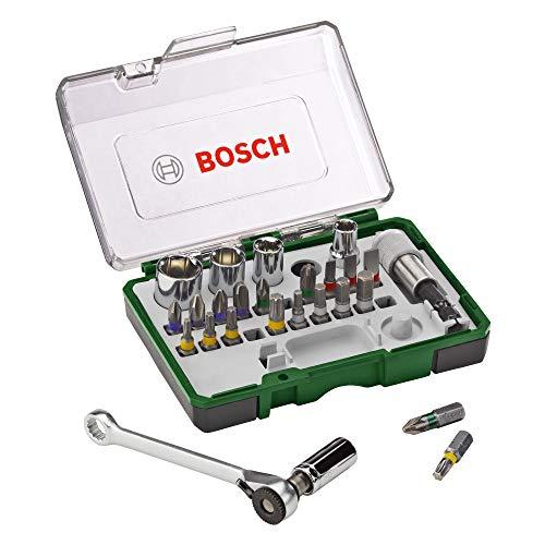 Bosch 27tlg. Schrauberbit- und Ratschen-Set (Extra harte Qualität, Zubehör Bohrschrauber und...
