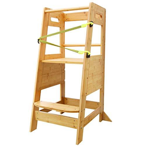 X XBEN Lernturm Kinder Learning Tower Ab 1 Jahr,Natural Bamboo...
