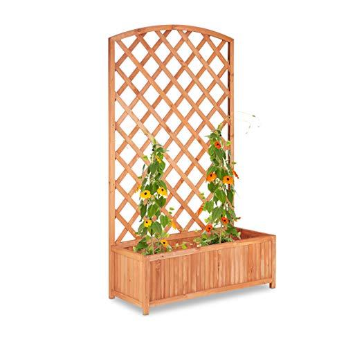 Relaxdays Pflanzkübel mit Rankgitter, XXL, Sichtschutz, Spalier für Kletterpflanzen,...