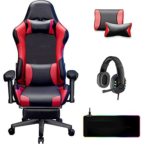 Peakfeng Gaming-Stuhlmassage mit Fußstütze schwarz rot...
