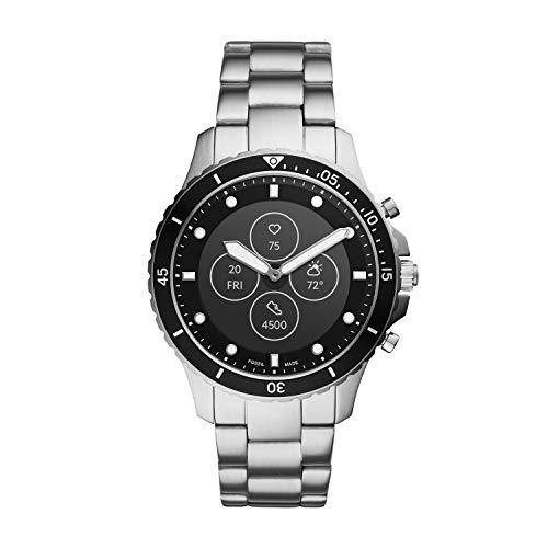 Fossil FB-01 HR- Hybrid Smartwatch Schwarzes Zifferblatt mit silberfarbenem Edelstahlarmband...