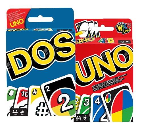 Karten-Spiel Set: UNO + DOS, Familie-Gesellschaftsspiele ab 7...