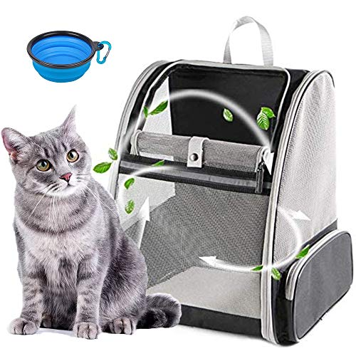 ZIIFEEL Katzenrucksack,Hunderucksack,Faltbarer und Belüfteter...
