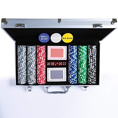 Pokerset 300 hochwertige 12 Gramm Metallkern Laserchips, inkl. 2X...