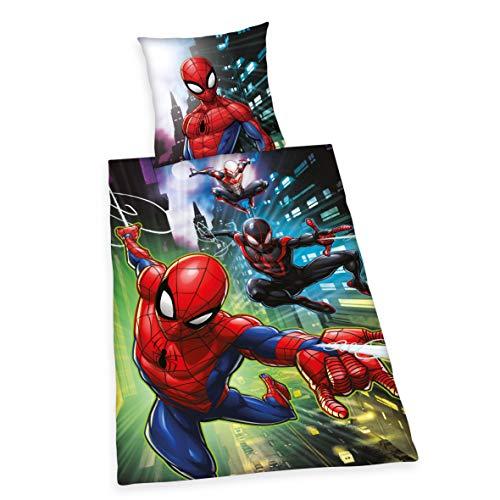 Bettwäsche Spiderman, Kopfkissenbezug 80x80cm, Bettbezug...