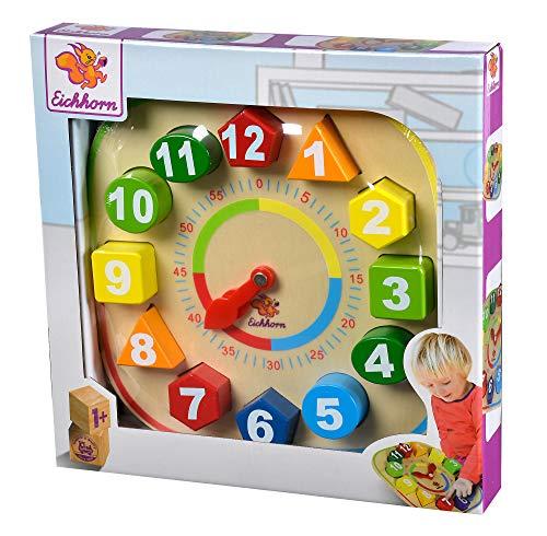 Eichhorn 100003449 Lernuhr mit Steckteilen Uhrzeit lernen für...