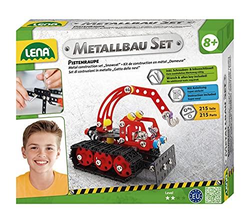 Lena 42675 - Metallbau Set Pistenraupe mit 215 Teilen, Metall...