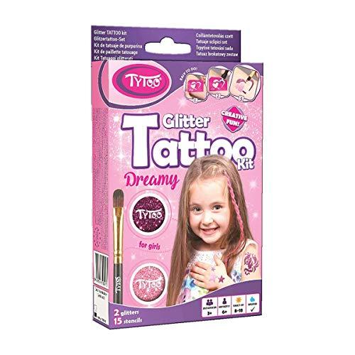 Tytoo Glitzertattoo Set für Mädchen mit 15 Schablonen-...