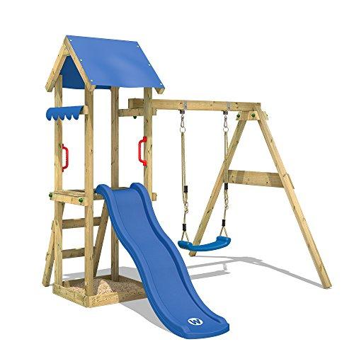 WICKEY Spielturm Klettergerüst TinyWave mit Schaukel & blauer...