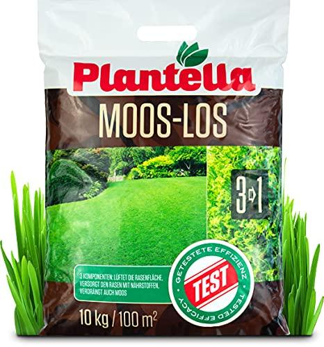 Plantella Moos-los 3-in-1 Rasendünger mit Moosvernichter, 10 kg...