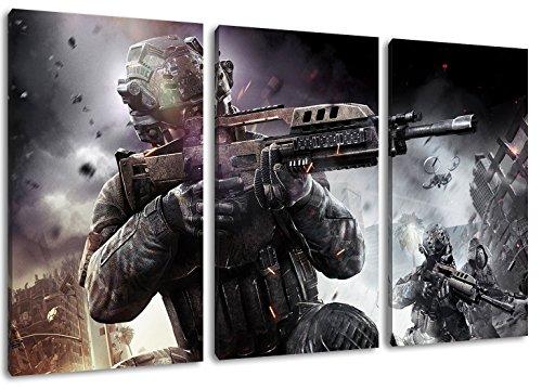 Dark Call of Duty 3-Teilig auf Leinwand, Gesamtformat: 120x80 cm...