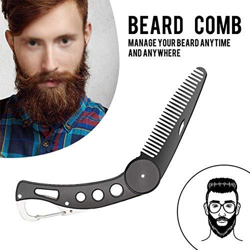 Careor Bartkamm aus Edelstahl, faltbar, für Männer, zum Pflegen...