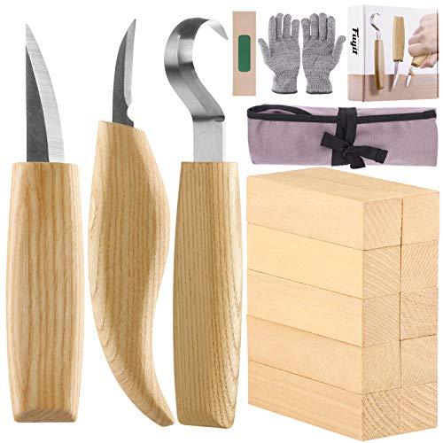 Fuyit Holz Schnitzwerkzeug Set-Beinhaltet 6 Teiliges Holz Schnitzmesser Set &10 Pcs...