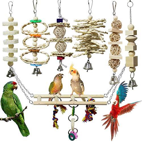 onebarleycorn – 7 Stück Vogel Papagei Glöckchen Swing...