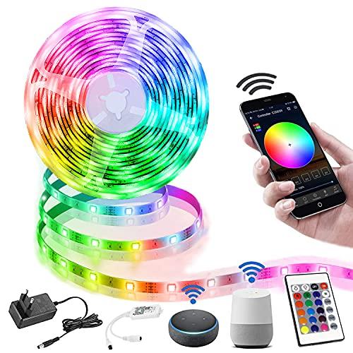 LED Strip 10M, Smart RGB LED Streifen WiFi Farbwechsel LED...