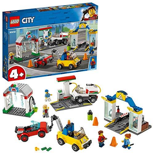 LEGO 60232 City Autowerkstatt Set mit 3 Autos und 4 Minifiguren, Spielzeug für 4-Jährige