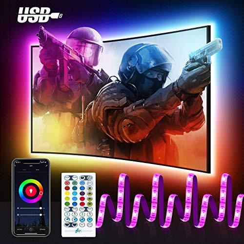 Smart RGB LED Strip mit USB, Maxcio Wlan TV...